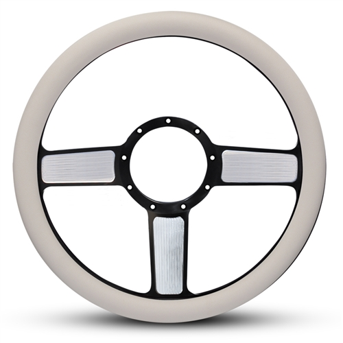 Linear Billet Steering Wheel Black Spokes with Machined Highlights/White Grip