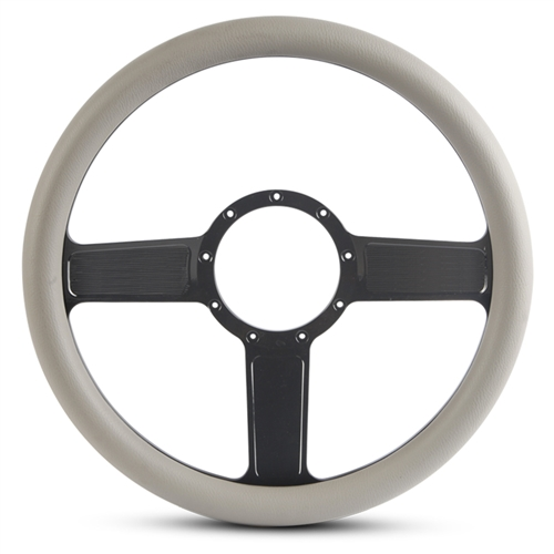 Linear Billet Steering Wheel Gloss Black Spokes/Grey Grip