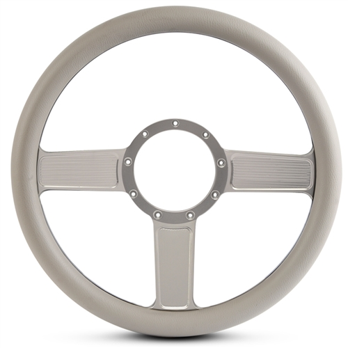 Linear Billet Steering Wheel Clear Anodized Spokes/Grey Grip