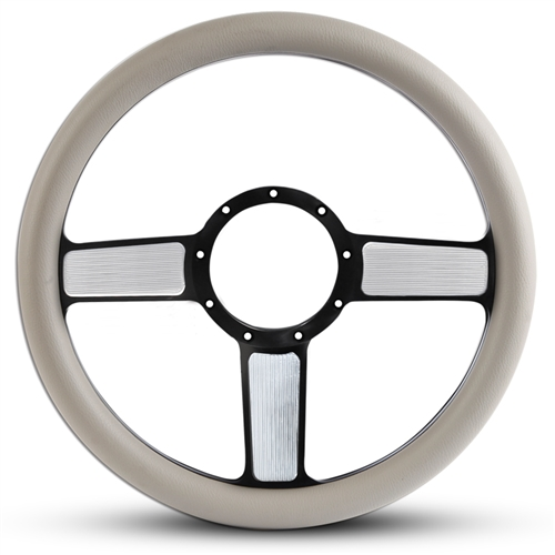 Linear Billet Steering Wheel Black Spokes with Machined Highlights/Grey Grip