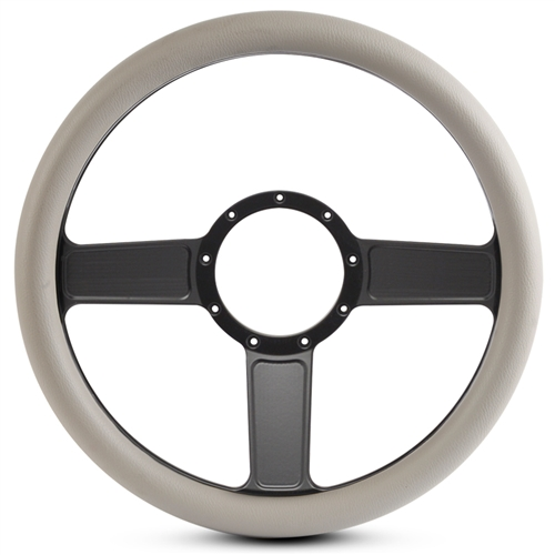 Linear Billet Steering Wheel Matte Black Spokes/Grey Grip