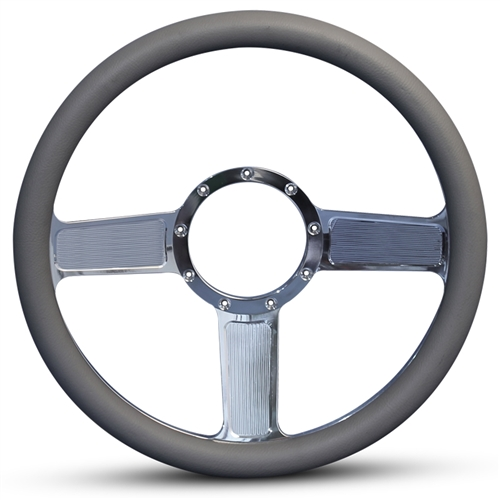 Linear Billet Steering Wheel Polished Spokes/Grey Grip