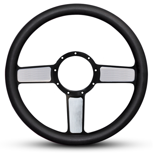 Linear Billet Steering Wheel Black Spokes with Machined Highlights/Black Grip