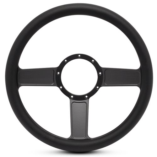 Linear Billet Steering Wheel Matte Black Spokes/Black Grip
