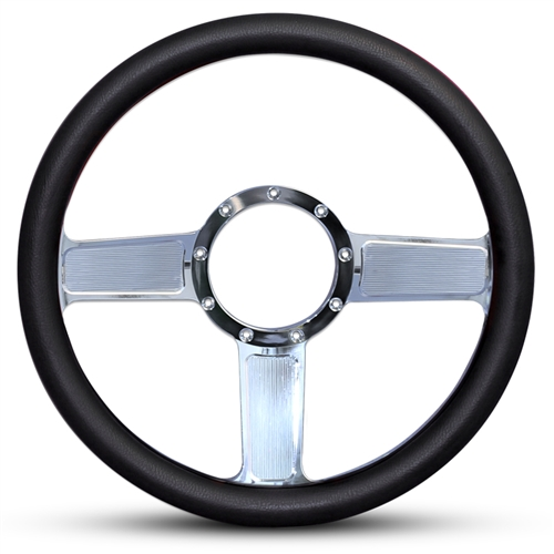 Linear Billet Steering Wheel Polished Spokes/Black Grip
