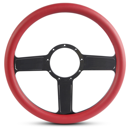 Linear Billet Steering Wheel Gloss Black Spokes/Red Grip