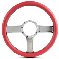 Linear Billet Steering Wheel Chrome Plated Spokes/Red Grip