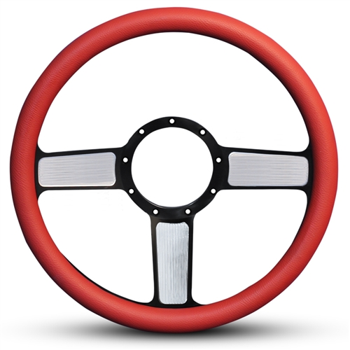 Linear Billet Steering Wheel Highlight Spokes/Red Grip