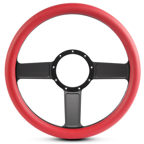 Linear Billet Steering Wheel Matte Black Spokes/Red Grip