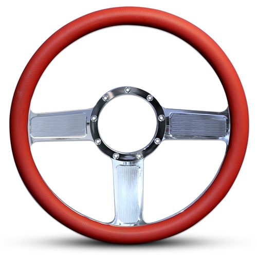 Linear Billet Steering Wheel Polished Spokes/Red Grip