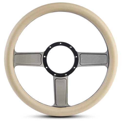 Linear Billet Steering Wheel Gloss Black Spokes/Tan Grip