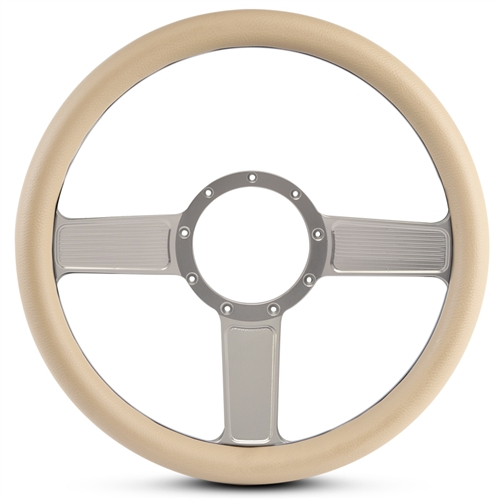 Linear Billet Steering Wheel Clear Anodized Spokes/Tan Grip