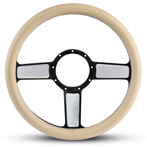 Linear Billet Steering Wheel Black Spokes with Machined Highlights/Tan Grip