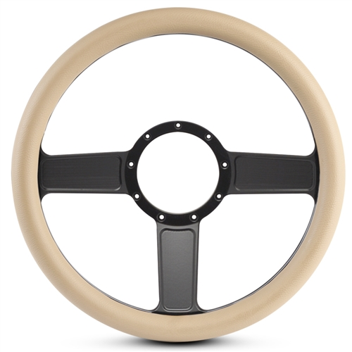 Linear Billet Steering Wheel Matte Black Spokes/Tan Grip