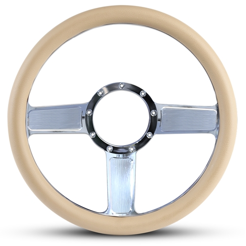 Linear Billet Steering Wheel Polished Spokes/Tan Grip
