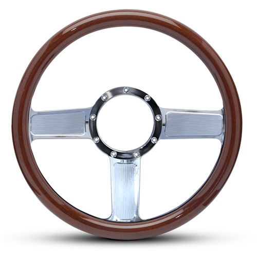 Linear Billet Steering Wheel Polished Spokes/Woodgrain Grip