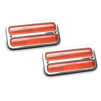 Marker Light & Bezel Kit 1967-72 Chevy C-10 Truck Billet Aluminum Amber Lights