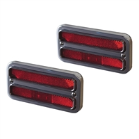 Marker Light & Bezel Kit 1967-72 Chevy C-10 Truck Billet Aluminum Red Lights