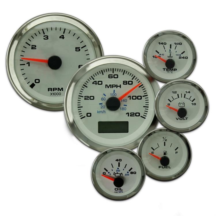 Elite 6 Gauge Kit with GPS Speedo, Univresal Fuel Level Gauge White