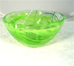 Medium, lime Contrast Bowl by Kosta Boda