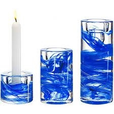 Colonne Candlestick Blue (Set of 3)  by Kosta Boda
