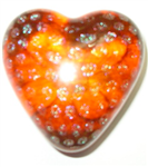 Robert Held Orange Dots Heart Paperweight