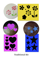 3 in 1 Stencil Kit This 3 in 1 stencil kit includes 3 stencils: Stars, Flowers and Hearts as well as 1 applicator.