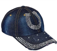 Denim & Bling Horseshoe Cap Showoff your horse enthusiasm with this trendy distressed denim and bling ball cap. Featuring hundreds of dazzling crystals, and a easy adjust back the perfect hat for a sunny day! Find the best prices at The Distance Depot.