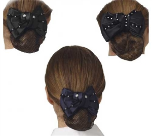 Ovation Show Bow This satin and velvet textured bow features a strong hair clip and net pouch to keep your hair neat and tidy for the show ring. Adding some flair with elegant crystals creating a classic yet modern look.