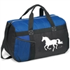 Blue and Black Duffle with Horse Print for Sale!