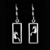 JJeni Duet Silver Horse Earrings For Sale!