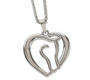Horse Head and Heart Necklace for Sale