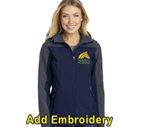 SanMar Ladies Jacket with Hood- Navy/Grey For Sale!