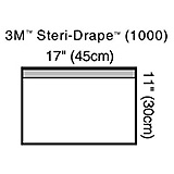 "3M STERI-DRAPE Towel Drape, Small, 17"" x 11"", Adhesive Strip & Clear Plastic, 10/box, 4 box/case. MFID: 1000"