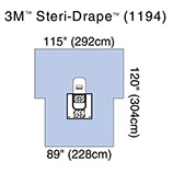 "3M STERI-DRAPE Arthroscopy Sheet, Fluid Collection Pouch, 89"" x 120"", 2 Exit Ports. MFID: 1194"