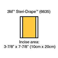 "3M IOBAN 2 Incise Drape, Overall 5 7/8"" x 7 7/8"", Incise: 3 7/8"" x 7 7/8"", 10/box, 4 box/case. MFID: 6635"