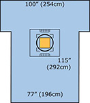 "3M STERI-DRAPE Cesarean-Section Sheet with Ioban 2 Incise Pouch, 77"" x 122"", 5/case. MFID: 6697"