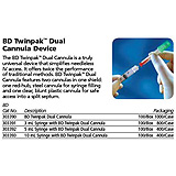 BD 3mL Syringe w/ Twinpak Dual Cannula Device, 100/box, 8 box/case. MFID: 303391