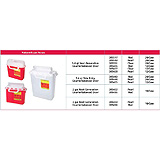 "BD Patient/Exam Room Sharps Collector, 3 Gal, Red, Horiz. Entry, 16""x13.5""x6"" CB Door. MFID: 305436"