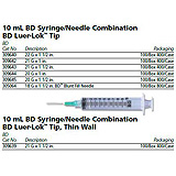 "BD Syringe/Needle Combination, 10mL w/ luer-Lok tip, 22 G x 1"", 100/box, 4 box/case. MFID: 309640"