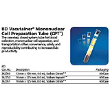 BD VACUTAINER Mononuclear Cell Preparation Tube (CPT), Sodium Heparin, 16x125mmx8.0mL. MFID: 362753
