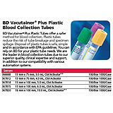 BD VACUTAINER Plus Plastic Serum Tube, 13x100mm, 5.0mL, Red, 100/box, 10 box/case. MFID: 367814