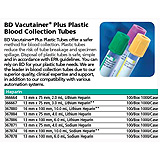 BD VACUTAINER Plus Plastic Plasma Tube, 16x100mm, 10.0mL, Green, 100/box, 10 box/case. MFID: 367874