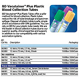 BD VACUTAINER SPC Plus Plastic Tube, 13mm x 100mm, 6.0mL, 100/box, 10 box/case. MFID: 368380