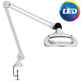 Burton Wave LED Mangifier with Table Edge Clamp Mount. MFID: WML35W45EC120