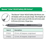 Beaver XSTAR KOJO Safety Slit Knife, 2.5 mm, 45 degrees, single bevel. MFID: 373025