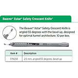 Beaver XSTAR Safety Crescent Knife, 2.5 mm, angled 55 degrees, bevel up. MFID: 378234