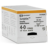"Covidien SURGIDAC Dental Polyester Suture, Premium Spatula, Size 4-0, White, 18"", Needle SS-24, ¼ Circle. MFID: D1763K"