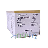 "Covidien Mild Chromic Gut Suture, Reverse Cutting, Size 6-0 18"", Needle HE-7, 3/8 Circle. MFID: G3756K"