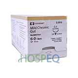 "Covidien Mild Chromic Gut Suture, Reverse Cutting, Size 6-0 18"", Needle C-1, 3/8 Circle. MFID: G3810"